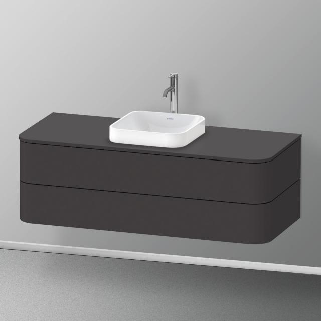 Duravit Happy D.2 Plus Waschtischunterschrank für Konsole mit 2 Auszügen Front graphit supermatt / Korpus graphit supermatt, mit Einrichtungssystem Nussbaum