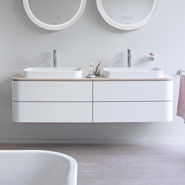 Duravit Happy D.2 Plus Waschtischunterschrank für Konsole mit 4 Auszügen Front weiß seidenmatt / Korpus weiß seidenmatt, mit Einrichtungssystem Nussbaum