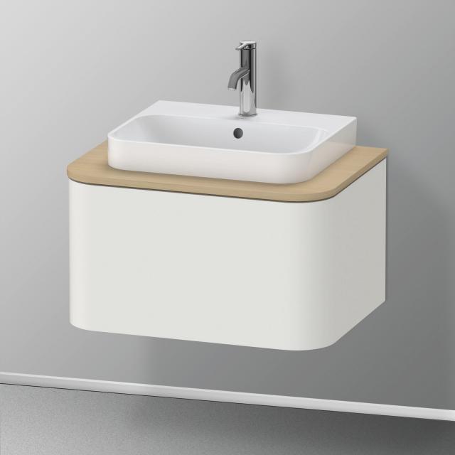Duravit Happy D.2 Plus Waschtischunterschrank für Konsole mit 1 Auszug Front nordic weiß seidenmatt / Korpus nordic weiß seidenmatt, mit Einrichtungssystem Ahorn