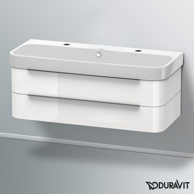 Duravit Happy D.2 Waschtisch mit Waschtischunterschrank mit 2 Auszügen weiß, mit WonderGliss, mit 2 Hahnlöchern