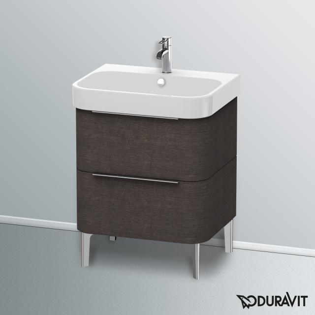 Duravit Happy D.2 Waschtischunterschrank mit 2 Auszügen Front eiche dunkel gebürstet / Korpus eiche dunkel gebürstet, mit Einrichtungssystem Ahorn