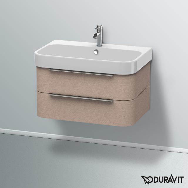 Duravit Happy D.2 Waschtischunterschrank mit 2 Auszügen Front eiche kaschmir / Korpus eiche kaschmir, mit Einrichtungssystem Nussbaum