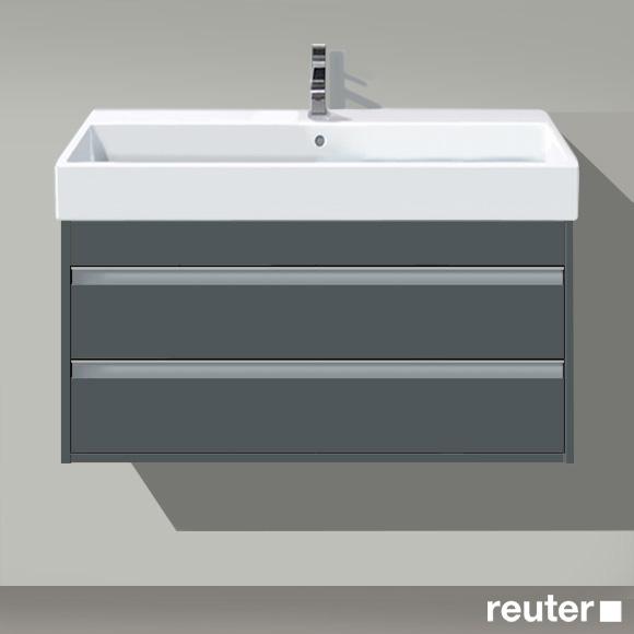 Duravit Ketho Waschtischunterschrank mit 2 Auszügen Front graphit matt / Korpus graphit matt