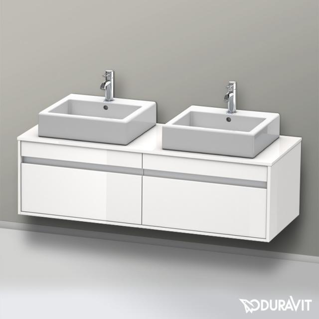 Duravit Ketho Waschtischunterschrank mit 2 Auszügen für 2 Aufsatzwaschtische Front weiß hochglanz / Korpus weiß hochglanz
