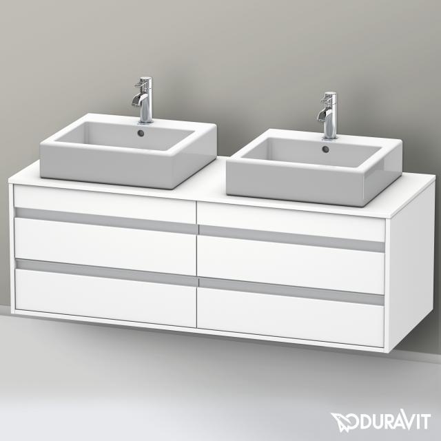 Duravit Ketho Waschtischunterschrank mit 4 Auszügen für 2 Aufsatzwaschtische Front weiß matt / Korpus weiß matt
