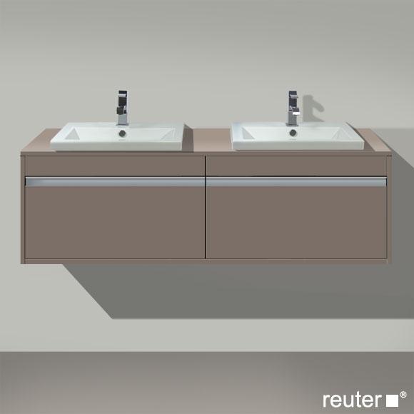 Duravit Ketho Waschtischunterschrank mit 2 Auszügen für 2 Einbauwaschtische Front basalt matt / Korpus basalt matt