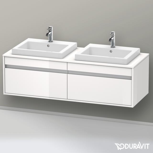 Duravit Ketho Waschtischunterschrank mit 2 Auszügen für 2 Einbauwaschtische Front weiß hochglanz / Korpus weiß hochglanz