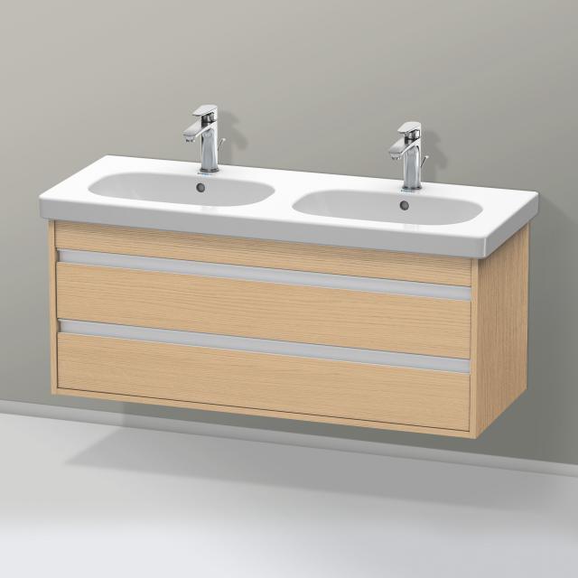 Duravit Ketho Waschtischunterschrank für Doppelwaschtisch mit 2 Auszügen Front eiche natur / Korpus eiche natur