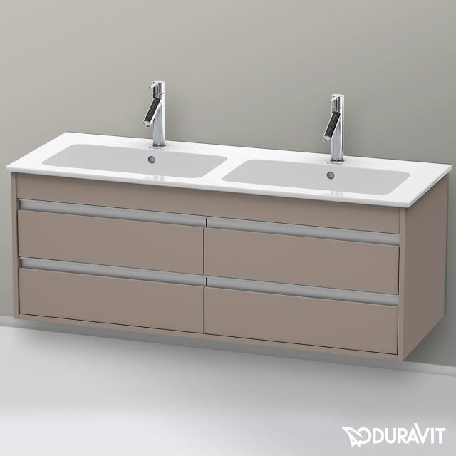Duravit Ketho Waschtischunterschrank für Doppelwaschtisch mit 4 Auszügen Front basalt matt / Korpus basalt matt