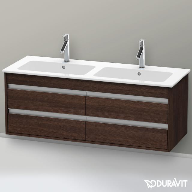 Duravit Ketho Waschtischunterschrank für Doppelwaschtisch mit 4 Auszügen Front kastanie dunkel / Korpus kastanie dunkel