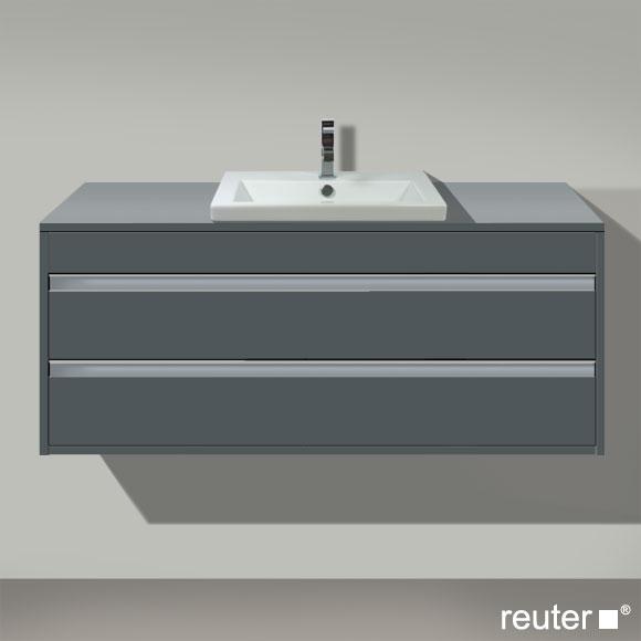 Duravit Ketho Waschtischunterschrank für Einbauwaschtisch mit 2 Auszügen Front graphit matt / Korpus graphit matt