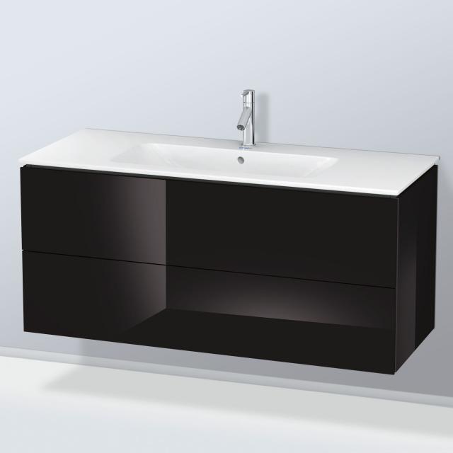 Duravit L-Cube Waschtischunterschrank mit 2 Auszügen Front schwarz hochglanz / Korpus schwarz hochglanz, mit Einrichtungssystem Nussbaum
