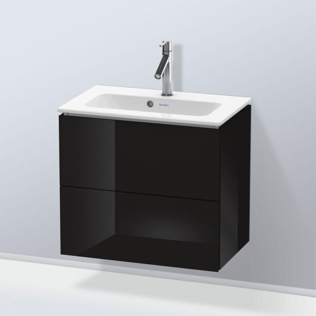 Duravit L-Cube Waschtischunterschrank Compact mit 2 Auszügen Front schwarz hochglanz / Korpus schwarz hochglanz, mit Einrichtungssystem Ahorn