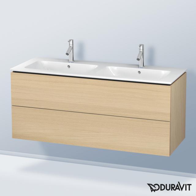 Duravit L-Cube Waschtischunterschrank für Doppelwaschtisch mit 2 Auszügen Front mediterrane eiche / Korpus mediterrane eiche, mit Einrichtungssystem Ahorn