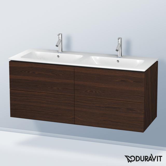 Duravit L-Cube Waschtischunterschrank für Doppelwaschtisch mit 4 Auszügen Front nussbaum gebürstet / Korpus nussbaum gebürstet, mit Einrichtungssystem Nussbaum, beidseitig