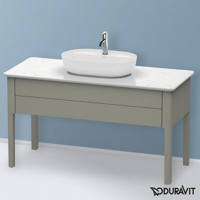 Duravit Luv Waschtischunterschrank für Konsole mit 1 Auszug Front steingrau seidenmatt / Korpus steingrau seidenmatt, mit Einrichtungssystem in Nussbaum