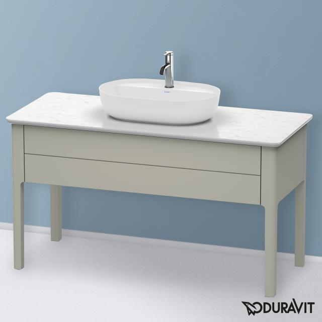 Duravit Luv Waschtischunterschrank für Konsole mit 1 Auszug Front taupe seidenmatt / Korpus taupe seidenmatt, mit Einrichtungssystem in Nussbaum