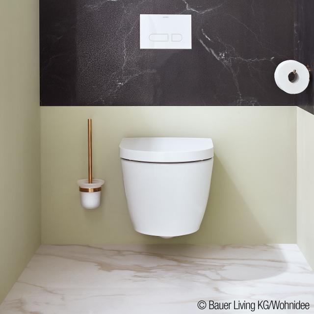 Duravit ME by Starck Wand-Tiefspül-WC Compact Set, rimless, mit WC-Sitz weiß, mit WonderGliss
