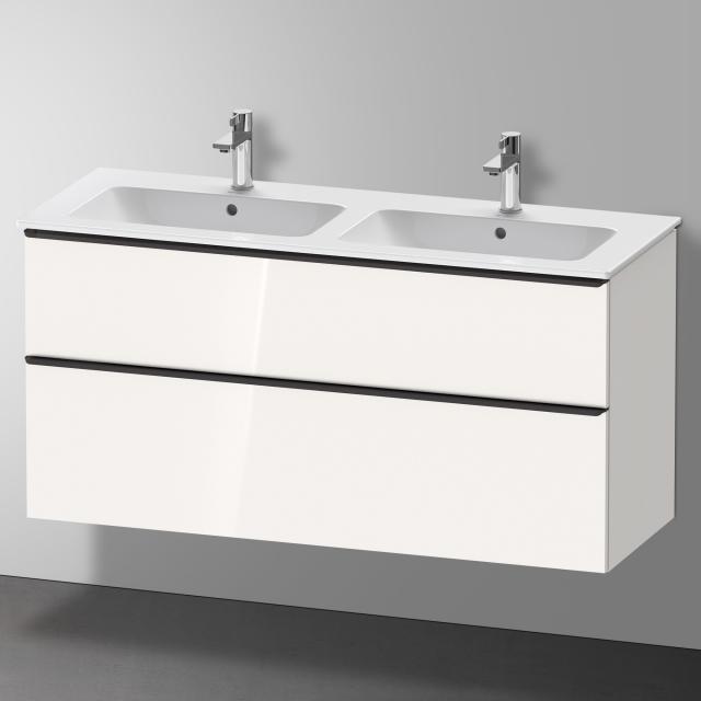 Duravit Me by Starck Doppelwaschtisch mit D-Neo Waschtischunterschrank mit 2 Auszügen Front weiß hochglanz / Korpus weiß hochglanz, WT weiß, mit WonderGliss, mit 2 Hahnlöchern
