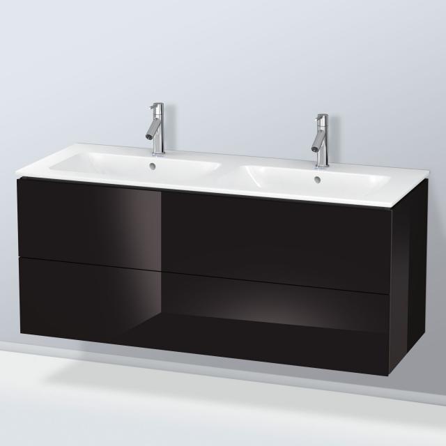 Duravit ME by Starck Doppelwaschtisch mit L-Cube Waschtischunterschrank mit 2 Auszügen Front schwarz hochglanz / Korpus schwarz hochglanz, ohne Einrichtungssystem, WT weiß, mit WonderGliss, mit 2 Hahnlöchern