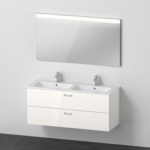 Duravit ME by Starck Doppelwaschtisch mit XBase Waschtischunterschrank und LED-Spiegel Front weiß glanz / Korpus weiß glanz