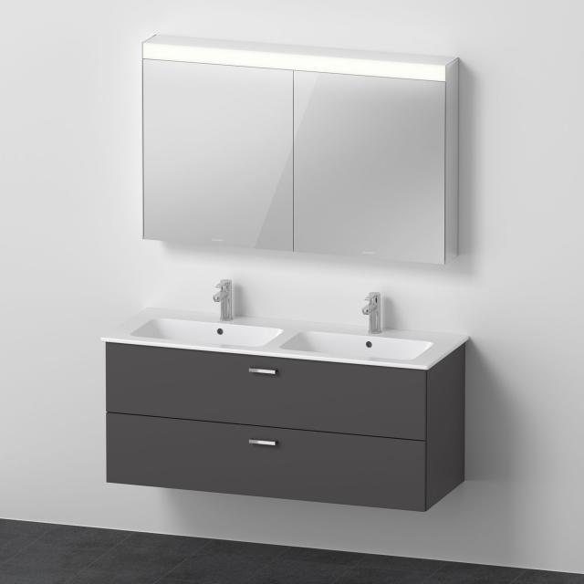Duravit ME by Starck Doppelwaschtisch mit XBase Waschtischunterschrank und LED-Spiegelschrank Front graphit matt / Korpus graphit matt