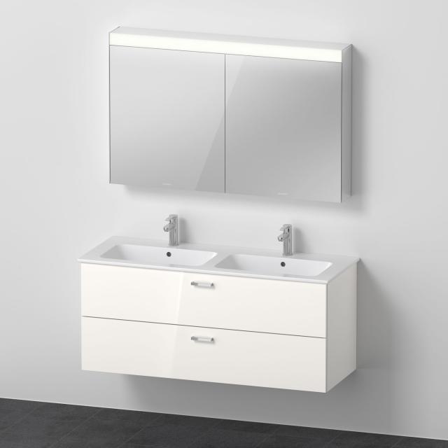 Duravit ME by Starck Doppelwaschtisch mit XBase Waschtischunterschrank und LED-Spiegelschrank Front weiß glanz / Korpus weiß glanz