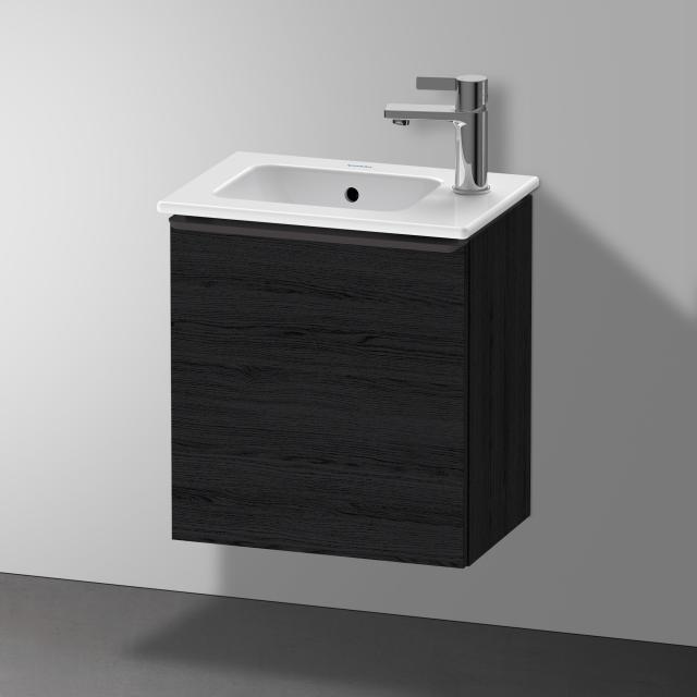 Duravit Me by Starck Handwaschbecken mit D-Neo Waschtischunterschrank mit 1 Tür Front eiche schwarz / Korpus eiche schwarz, WT weiß, mit WonderGliss, mit Überlauf