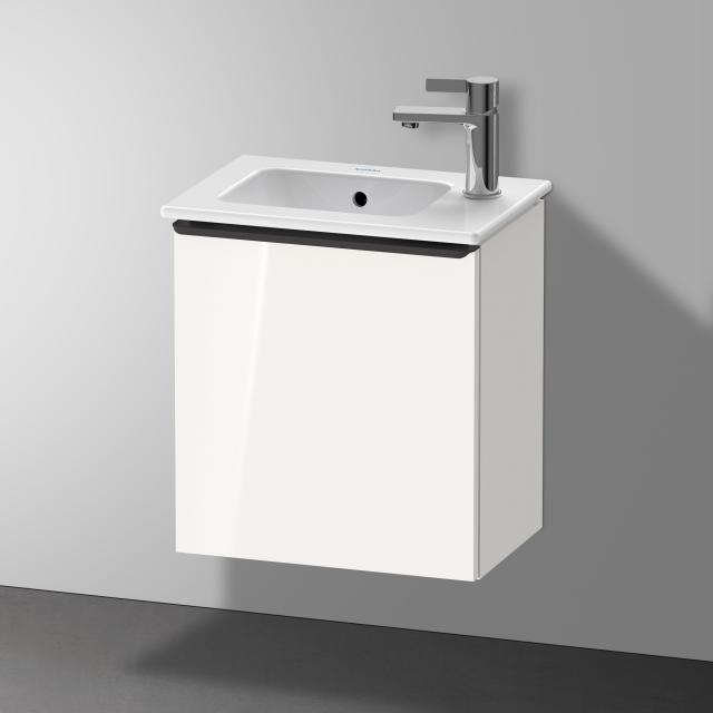 Duravit Me by Starck Handwaschbecken mit D-Neo Waschtischunterschrank mit 1 Tür Front weiß hochglanz / Korpus weiß hochglanz, WT weiß, mit WonderGliss, mit Überlauf