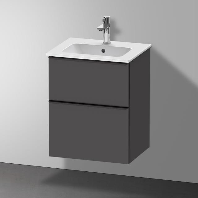 Duravit Me by Starck Handwaschbecken mit D-Neo Waschtischunterschrank mit 2 Auszügen Front graphit matt / Korpus graphit matt, WT weiß, mit WonderGliss, mit 1 Hahnloch