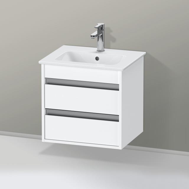 Duravit ME by Starck Handwaschbecken mit Ketho Waschtischunterschrank Compact mit 2 Auszügen Front weiß matt / Korpus weiß matt, weiß