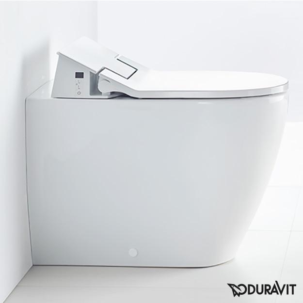 Duravit ME by Starck Stand-Tiefspül-WC mit NEUEM  SensoWash® Slim WC-Sitz, Set weiß mit WonderGliss