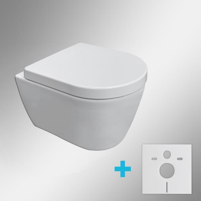 Duravit ME by Starck Wand-WC & Tellkamp Premium 4000 WC-Sitz SET kurz: WC ohne Spülrand, mit Zubehör weiß, mit HygieneGlaze