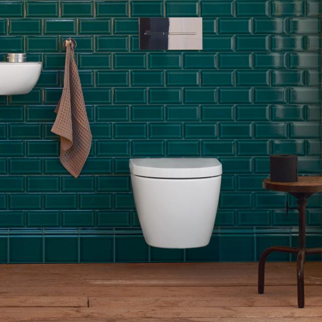 Duravit ME by Starck Wand-Tiefspül-WC Compact, rimless weiß matt, mit WonderGliss