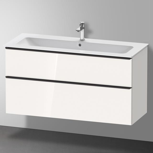 Duravit Me by Starck Waschtisch mit D-Neo Waschtischunterschrank mit 2 Auszügen Front weiß hochglanz / Korpus weiß hochglanz, WT weiß, mit WonderGliss, mit 1 Hahnloch