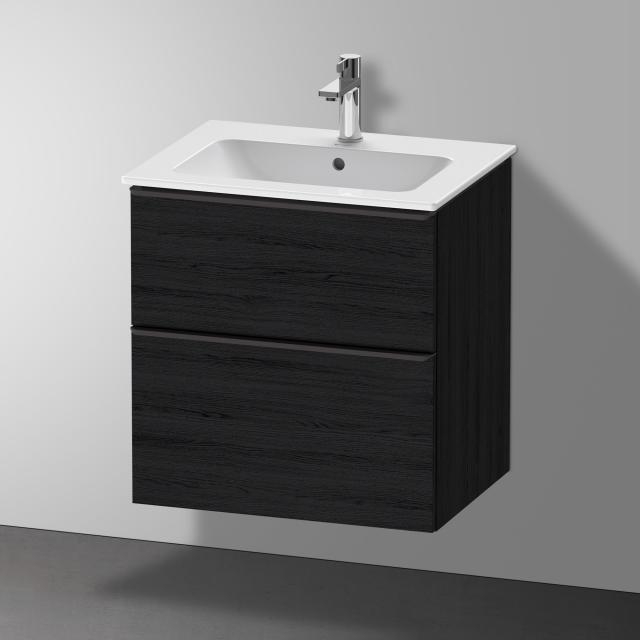 Duravit Me by Starck Waschtisch mit D-Neo Waschtischunterschrank mit 2 Auszügen Front eiche schwarz / Korpus eiche schwarz, WT weiß, mit WonderGliss, mit 1 Hahnloch