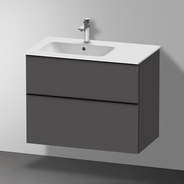 Duravit Me by Starck Waschtisch mit D-Neo Waschtischunterschrank mit 2 Auszügen Front graphit matt / Korpus graphit matt, WT weiß matt, mit WonderGliss, mit 1 Hahnloch