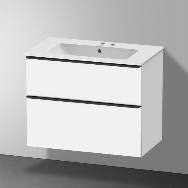 Duravit Me by Starck Waschtisch mit D-Neo Waschtischunterschrank mit 2 Auszügen Front weiß matt / Korpus weiß matt, WT weiß, mit 2 Hahnlöchern