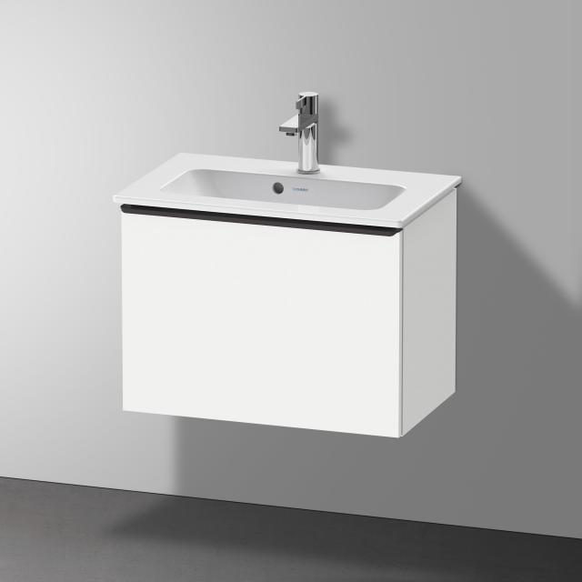 Duravit Me by Starck Waschtisch mit D-Neo Waschtischunterschrank Compact mit 1 Auszug Front weiß matt / Korpus weiß matt, WT weiß, mit WonderGliss, mit 1 Hahnloch