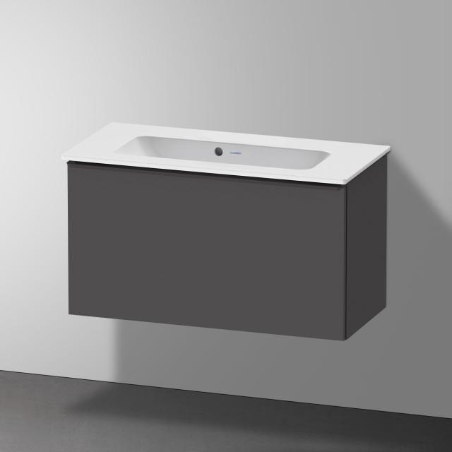 Duravit Me by Starck Waschtisch mit D-Neo Waschtischunterschrank Compact mit 1 Auszug Front graphit matt / Korpus graphit matt, WT weiß matt, mit WonderGliss, ohne Hahnloch