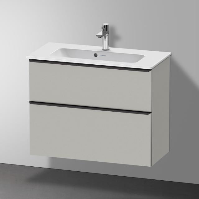 Duravit Me by Starck Waschtisch mit D-Neo Waschtischunterschrank Compact mit 2 Auszügen Front betongrau matt / Korpus betongrau matt, WT weiß, mit WonderGliss, mit 1 Hahnloch