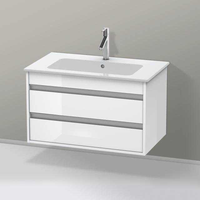 Duravit ME by Starck Waschtisch mit Ketho Waschtischunterschrank mit 2 Auszügen weiß, mit WonderGliss, mit 1 Hahnloch
