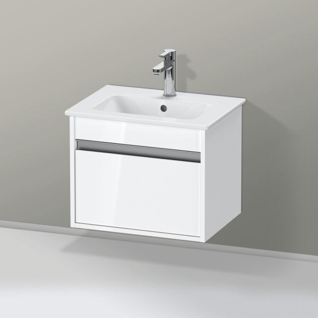 Duravit ME by Starck Waschtisch mit Ketho Waschtischunterschrank Compact mit 1 Auszug Front weiß hochglanz / Korpus weiß hochglanz, weiß, mit WonderGliss