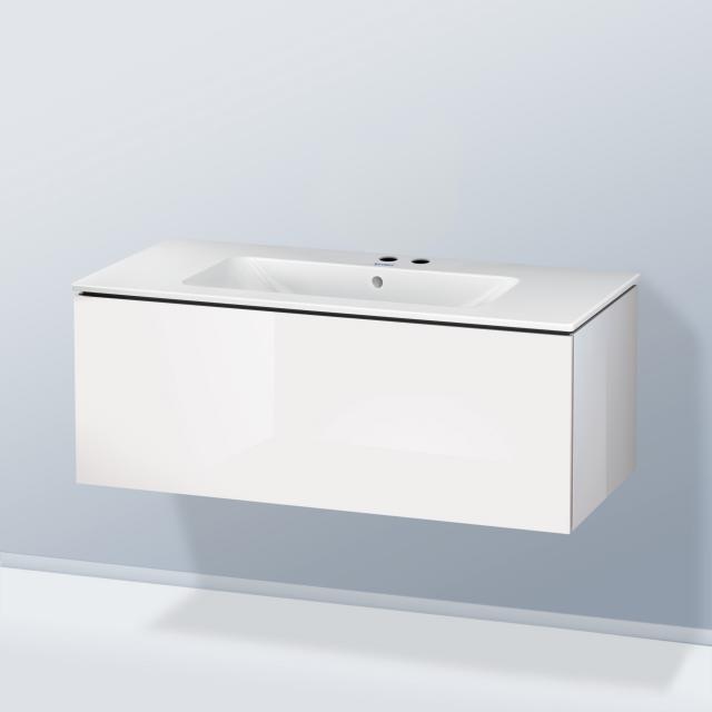 Duravit ME by Starck Waschtisch mit L-Cube Waschtischunterschrank mit 1 Auszug Front weiß hochglanz / Korpus weiß hochglanz, mit Einrichtungssystem Nussbaum, WT weiß, mit 2 Hahnlöchern