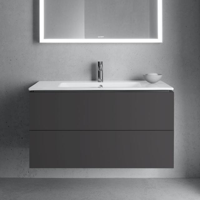 Duravit ME by Starck Waschtisch mit L-Cube Waschtischunterschrank mit 2 Auszügen Front graphit matt / Korpus graphit matt, ohne Einrichtungssystem, WT weiß, mit WonderGliss, mit 1 Hahnloch