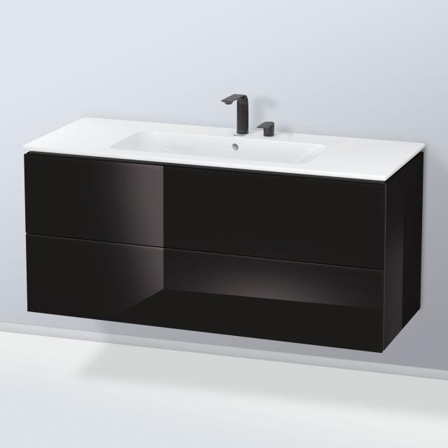 Duravit ME by Starck Waschtisch mit L-Cube Waschtischunterschrank mit 2 Auszügen Front schwarz hochglanz / Korpus schwarz hochglanz, mit Einrichtungssystem Nussbaum, WT weiß, mit 2 Hahnlöchern