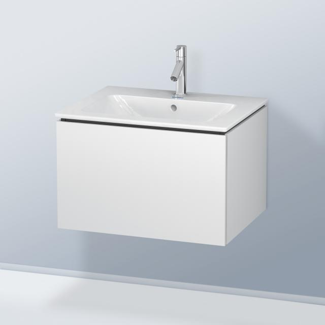 Duravit ME by Starck Waschtisch mit L-Cube Waschtischunterschrank mit 1 Auszug Front weiß matt / Korpus weiß matt, ohne Einrichtungssystem, WT weiß, mit WonderGliss, mit 1 Hahnloch