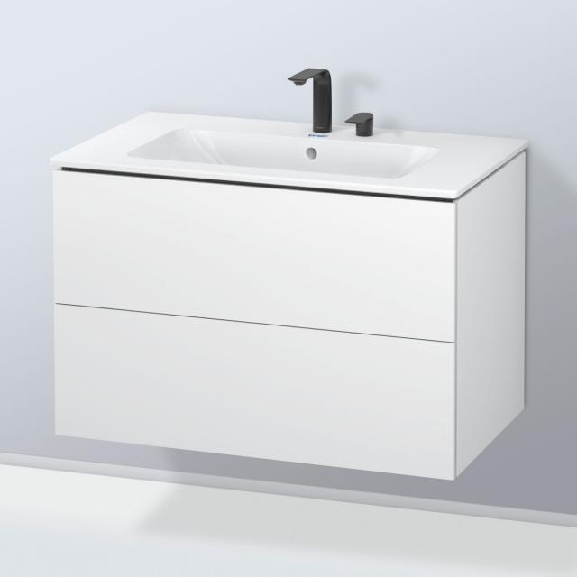 Duravit ME by Starck Waschtisch mit L-Cube Waschtischunterschrank mit 2 Auszügen Front weiß matt / Korpus weiß matt, ohne Einrichtungssystem, WT weiß, mit 2 Hahnlöchern