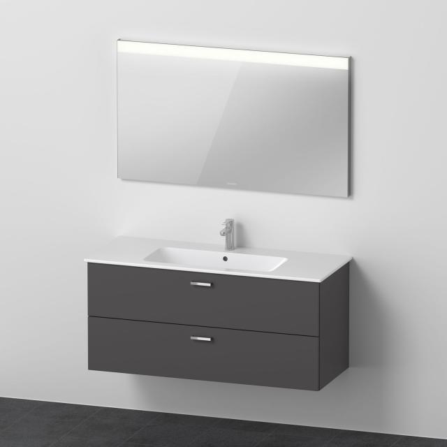 Duravit ME by Starck Waschtisch mit XBase Waschtischunterschrank und LED-Spiegel Front graphit matt / Korpus graphit matt