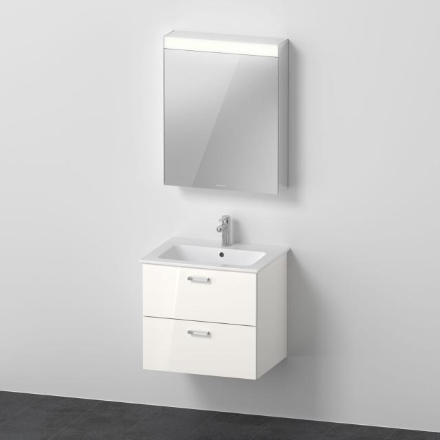 Duravit ME by Starck Waschtisch mit XBase Waschtischunterschrank und LED-Spiegelschrank Front weiß glanz / Korpus weiß glanz